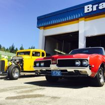 Yellow and red classic cars